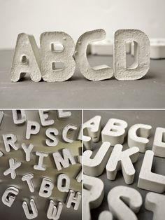 DIY Cement Alphabet - you could paint them/dye the cement and use them outside or in garden?  Fun project!