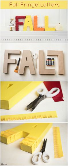 All you need are Darice paper mache letters, some cardstock and fringe scissors to create this fun fall DIY decor for your mantle or shelf!