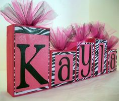 Cute for my desk area and it could say Mrs. (cough cough) Mac hehe or whatever baby name we pick out and it can be turned into a cute little boys name blocks too <3kw