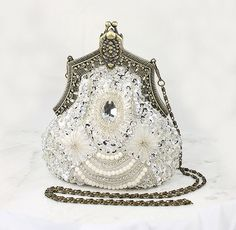 Art Deco Bridal Clutch, Old Hollywood Evening Bag, Handbag Purse great Gatsby Wedding Beaded Sequin 1920 Flapper inspired Accessory on Etsy, $112.00