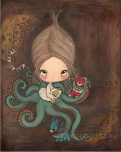 Octopus Art Print Nautical Lost Carnival Prize Nursery Children Girl Under The Sea Wall Art
