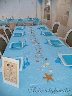 Table Coquillage, baptême Mer, Bateau blanc et bleu