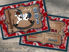 Cowboy or Cowgirl Rocking Horse and Bandanna Print by NouDesigns