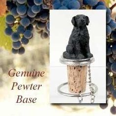 """Flat Coated Retriever Cork Bottle Buddy Wine Stopper by Conversation Concepts. $12.95. Your favorite dog will be the toast of the town on these pewter-base, cork bottle stoppers, designed to fit any standard bottle. Each comes with it's own velvet drawstring pouch - ideal for gift giving!  Appx. 3 to 3 1/2"""" tall. Please note that these are custom order items. Due to the wide assortment available you should allow between ten days and four weeks for delivery.  We will do ou..."""
