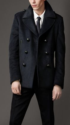 I would like to get something like this for Robert. Burberry Men's Leather Undercollar Pea Coat