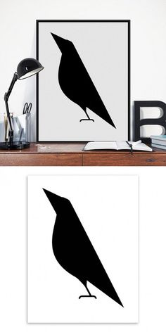 Modern Minimalist Black White Abstract Bird Big Poster Print Animal Hipster Canvas Painting No Frame Home Wall Art Decor Gift $2