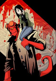 Hellboy and Liz. Hellboy Liz, Hellboy Movie, Red Right Hand, Comic Art, Comic Books, Deadpool Art, Captain Jack, Joker And Harley, Marvel Vs