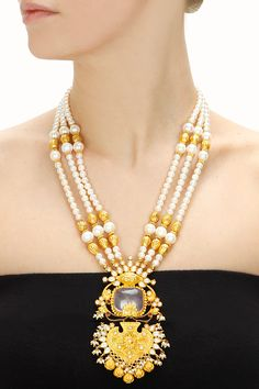 Gold plated rose rani haar necklace available only at Pernia's Pop-Up Shop