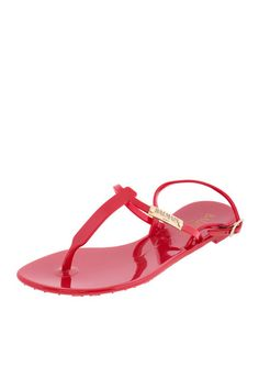 fcf33d88c5e7a4 Balmain Red Logo Plate T-Strap Flat Sandals - Couture Only - 1