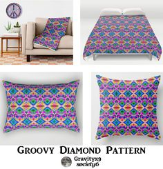 Groovy Psychedelic Home Decor  -  Bright, colorful abstract design with pinks, blues, greens and several other  groovy colors.  #Society6  #Gravityx9
