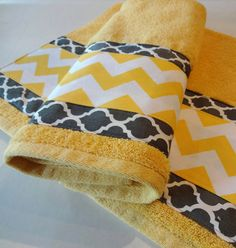 Towel Set- Yellow Chevron, Grey Quatrefoil, yellow and grey, yellow and gray, custom towels, bathroom, on Etsy, $36.00