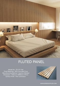 Create clean, crisp, continuous channels and shadow lines with Fluted Panel. This innovative and sophisticated product come in 3 different wood melamine finish (Oak, Walnut and Wenge ).Material made of WPC ( wood plastic composite ). Tv Wall Panel, Wood Panel Walls, Wooden Walls, Wooden Wall Panels, Feature Wall Design, Wall Panel Design, Bedroom Bed Design, Bedroom Wall, Interior Walls