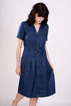 Lucia Denim Shirt Dress - The perfect dress for spring. A button through shirt dress with a gathered skirt. It has a soft shirt collar and short sleeves...