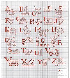 0 point de croix abécédaire monochrome pour enfants - cross stitch alphabet for kids