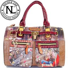 Click Here and Buy it On Amazon.com $59.99 Amazon.com: Nicole Lee Claire Blocked Print Boston Bag Gitana Vintage Print Two Front Cargo Zip Pockets and Front Lock Embellishment Boston Handbag Hollywood Celebrity Animal Print Thought of You Print Handbag Purse with Adjustable Shoulder Strap in Burgundy Wine Brown and Snake: Clothing