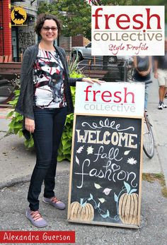 Alexandra joined us for a Style Profile outside our Kensington Market location!  Here she looks lovely in a Pollack print top from Mandala Design, a cozy Brenda Beddome cardigan and Yoga Jeans.