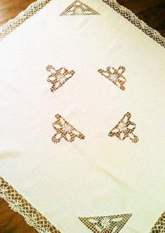 Vintage Romantic Home Snow White Handstitched Cutwork Lace Monogrammed Tablecloth, Shabby Chic, Olives and Doves