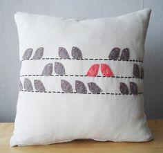 Birds Pillow Cover 14x14 por sukanart en Etsy