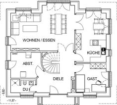Landhaus Grundriss Erdgeschoss mit 92,82 m² Wohnfläche