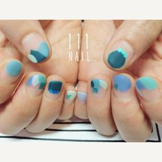 #Nail#art #nailart #ネイル#ネイルアート#green#blue#変形フレンチ#マットネイル#cute#ショートネイル#nailsalon#ネイルサロン#表参道
