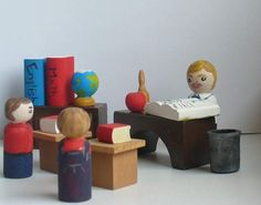 teacher gift / Kids Wooden Toys - Peg Doll School Playset, Montessori Toy - Waldorf Toy. $100.00, via Etsy.