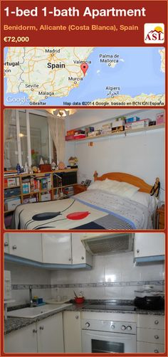 Apartment for Sale in Benidorm, Alicante (Costa Blanca), Spain with 1 bedroom, 1 bathroom - A Spanish Life Murcia, Alicante, Valencia, One Bedroom Apartment, Apartments For Sale, Bunk Beds, Costa, Swimming Pools, Bath