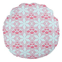 Round pillow with an abstract water lily design. Pattern of flowers and swirls in soft blue and grapefruit pink. Floral Throws, Floral Throw Pillows, Soft Pillows, Round Pillow, Water Lilies, Grapefruit, Swirls, Soft Fabrics, Vibrant Colors