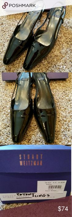Stuart Weitzman Patent Leather Slingbacks I LOVE patent leather and my shoes are in near perfect condition; but I just can't wear pointy toe boxes anymore. These are hard to find, and they go with anything dressy. They are 8.5M and just phenomenal dress shoes. Stuart Weitzman Shoes Heels