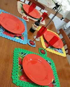 Jogo Americano de Chita com Crochê