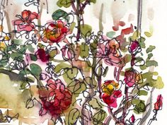 Items similar to Red roses in bloom garden art watercolor sketch - print on Etsy Watercolor Artwork, Watercolor Sketch, Watercolor Landscape, Garden Art, Red Roses, Floral Wreath, Doodles, Artsy, Bloom