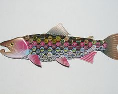 Bottle Cap Wall Art large mouth bass fish with beer bottlecaps metal bottle cap wall