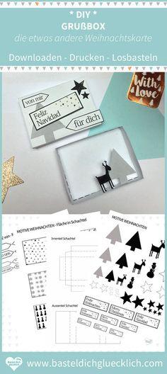 Vorlagen & Bastelanleitung zum ausdrucken: Mal ehrlich, gekaufte Weihnachtskarten sind doch irgendwie immer etwas zu kitschig, langweilig und einfach nichts Besonderes. Warum nicht dieses Weihnachten mal die Weihnachtskarten selber machen, aber nicht irgendeine DIY Weihnachtskarte basteln, sondern eine sehr Originelle: Sag es durch die Box und bastel deine individuelle WEIHNACHTS GRUSS BOX Sewing Lessons, Candy Wrappers, Advent, Christmas Crafts, Cricut, Lily, Printables, Random, Drawings