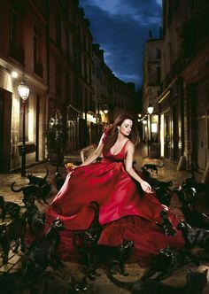 Spanish actress Penelope Cruz is surrounded by black cats in the photograph for January of the 2013 Campari calendar by Romanian photographer Kristian Schuller. We will have a gallery featuring all of the shots from the calendar on the Telegraph site later today.  Picture: EPA/KRISTIAN SCHULLER/CAMPARI