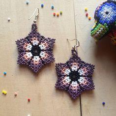 Mexican earrings peyote flower handmade beaded by ArtesaniaHUICHOL