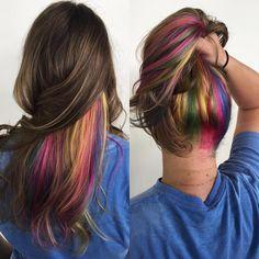 25 Vibrant Rainbow Hair Ideas — From Bright Rainbow Ombre to Pastel Ombre Hair Pastel Ombre, Ombre Hair Color, Hair Colors, Braid Styles For Girls, Long Hair Styles, Summer Hairstyles, Pretty Hairstyles, Easy Hairstyles, Hidden Rainbow Hair
