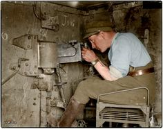 """Interior of the captured German tank A7V 542 """"Elfriede"""" showing the position of one of the 7.92-mm MG.08 machine guns. It was captured by 'A' Coy 1st Battalion Royal Tank Corps, at the Battle of Villers-Bretonneux, 24th April 1918 (Photo source - © IWM Q 29585) (Colourised by Doug)"""