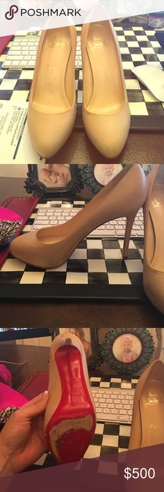 Christian Louboutin declic nude nappa heels 38.5 Christian Louboutin nude leather heels. Worn twice and have been well taken care of 38.5 Christian Louboutin Shoes Heels