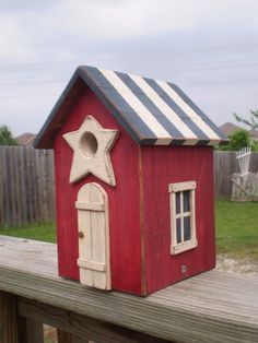 Red, White, & Blue Americana Birdhouse. $ 43, via Etsy.