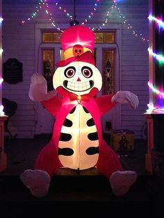 Gemmy Airblown Inflatable Halloween Ghoulish Pink-Hatted Delight  4ft