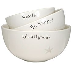 A stoneware bowl set of three. Complements well with coordinating pottery pieces for a charming kitchen collection. Dishwasher, microwave, and oven safe. Its All Good, Primitive Kitchen, Primitive Decor, Kitchen Items, Kitchen Cupboards, Kitchen Stuff, Pottery Bowls, Hostess Gifts, Decoration