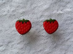 Red Strawberry Pair Plugs Gauges Size: 2g (6mm), 0g (8mm), 00g (10mm) by PorcupineSpines, $18.00