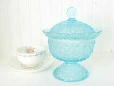 Blue Glass Daisy Button Compote with Lid by Fenton for L.G. Wright Glass #Fenton