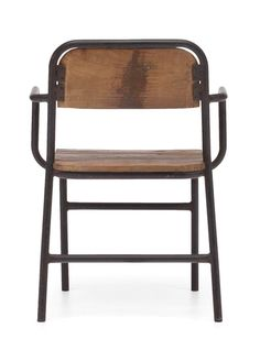 The west portal chair pairs wood with the industrial-age aesthetic of antiqued tubular steel. elm finishes imbue it with a contemporary attitude. Urban Industrial, Industrial House, Unfinished Wood Furniture, Contemporary Armchair, Curved Wood, Kitchen Gallery, Outdoor Chairs, Outdoor Decor, Tubular Steel