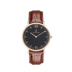 This stylish watch boasts a rose gold case, high-quality black leather band as well as a black leather band. All Black, Black And Brown, Ronda, Kapten & Son, Trendy Watches, Brown Leather Watch, Leather Wristbands, Bracelet Cuir, Vintage Leather