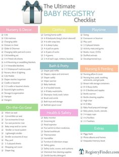 Ultimate Baby Registry Checklist For your convenience, has created a printable baby registry checklist to help you in your planning process. - Alles, Was Sie Über Baby-Dusche Wissen Müssen Baby Shower Registry, Baby Shower Checklist, Baby Registry Checklist, Baby Shower Gifts, Gift Registry, New Baby Checklist, Baby Registry Items, Baby Registry Essentials, Baby Checklist Newborn