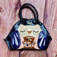 Womans Handbag Black with sleeping Owl design amp heart pattern amp bow Ladies Girls Kids Bags, Heart Patterns, Black Handbags, Bag Sale, Bows, Lady, Design, Women, Black Purses