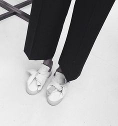 Minimalist Style - crisp black trousers & chic minimal sneakers