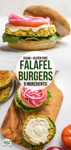 You only need 8 ingredients and 1 bowl to make these Falafel Burgers! You only need 8 ingredients and 1 bowl to make these Falafel Burgers! Packed with heart-healthy chickpeas and fresh herbs for a hearty plant-based main. Falafel Burgers, Vegan Burgers, Falafel Sandwich, Cake Vegan, Vegan Food, Homemade Tahini, Plant Based Burgers, Vegetarian Recipes, Healthy Recipes