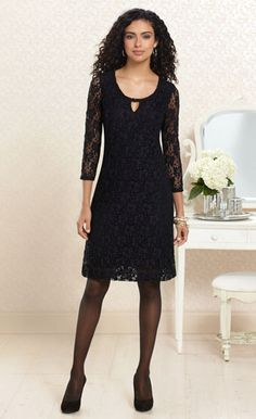 Lace Night: #Soma Keyhole Detail Lace Dress in Black #SomaIntimates