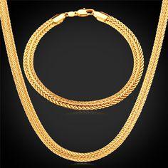 U7 Gold Necklace Set 18K Stamp Wholesale 2015 New Trendy Gold Plated 0.6 cm Wide Necklace Bracelet Party Men's Jewelry Sets